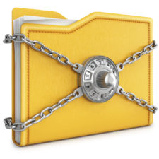 folder with chain and combination lock. isolated on white background.