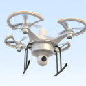 Air drone with camera flying in the sky . 3D rendering image.