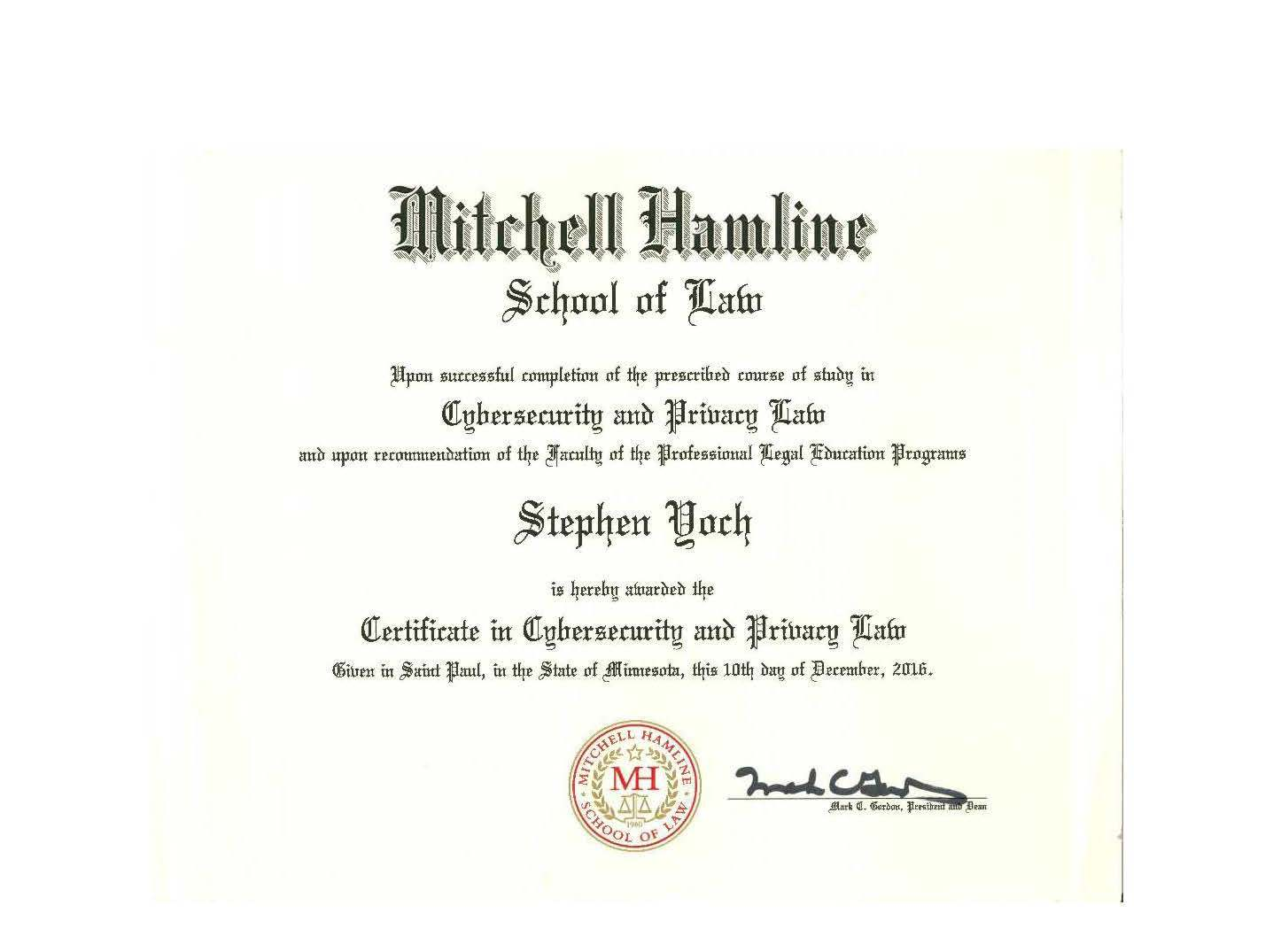 Certificate Of Completion Cybersecurity2 Felhaber Larson