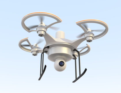 Air drone with camera flying in the sky