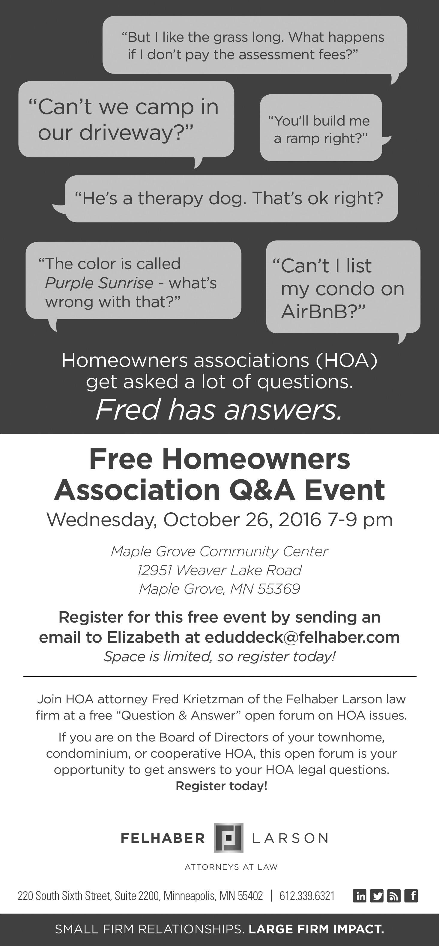 Fred Krietzman Offers Free Homeowners Ass'n Q & A - Felhaber